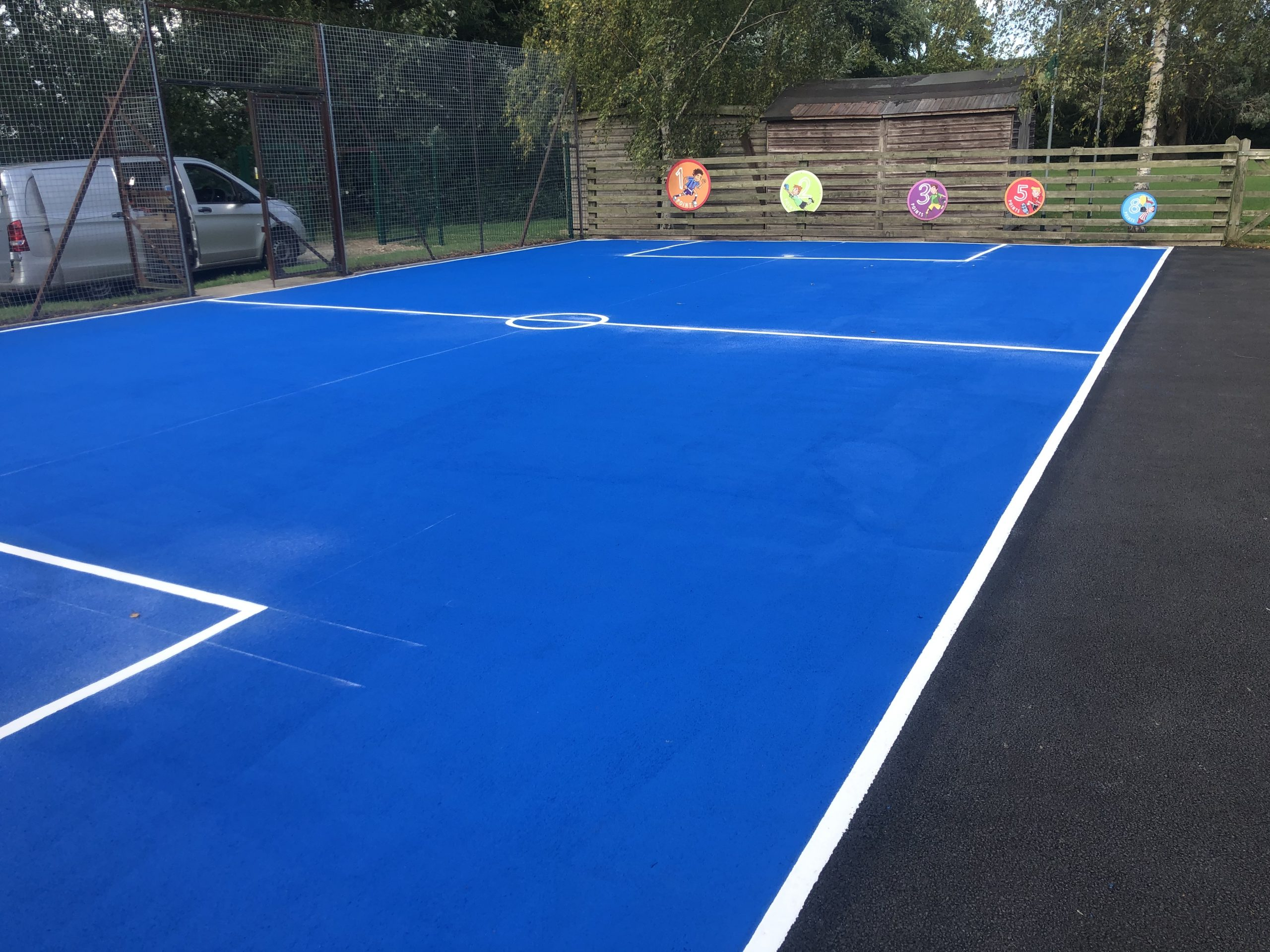 Creating a multi-functional playground with sports court markings